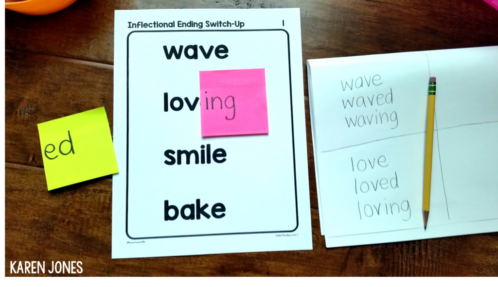 inflectional endings guided reading